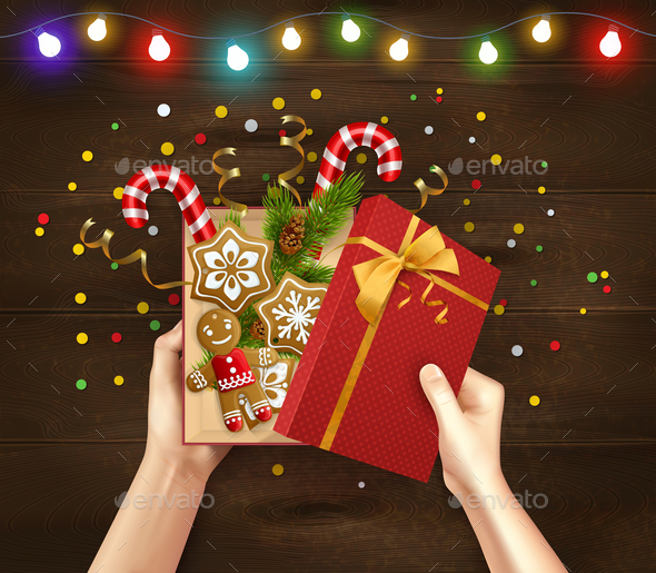 Christmas Gift Wood Background - Christmas Seasons/Holidays