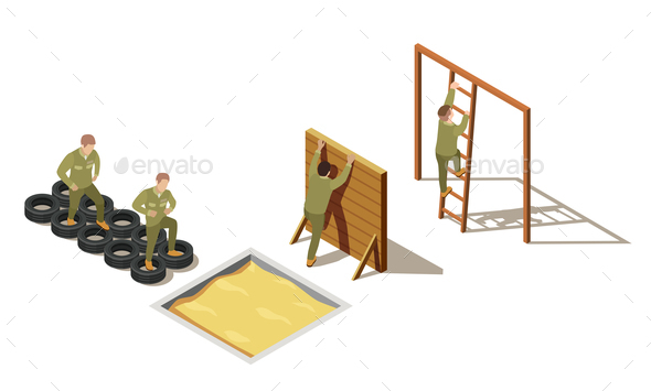 Military Recruit Training Isometric Composition - Miscellaneous Vectors