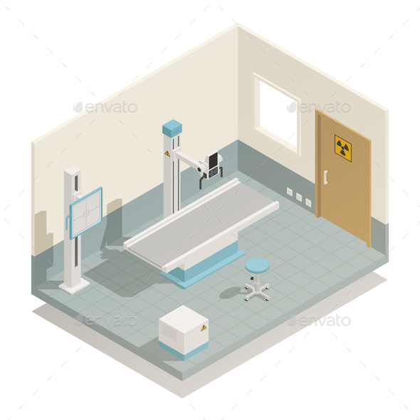 Hospital Medical Equipment Isometric Composition - Health/Medicine Conceptual