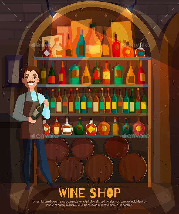 Wine Shop Illustration - Miscellaneous Vectors
