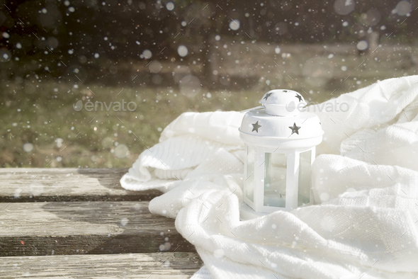 White latern on the bench - Stock Photo - Images