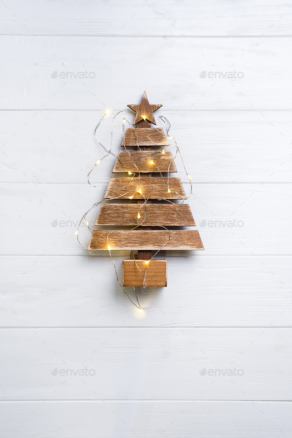 Christmas tree with lights - Stock Photo - Images