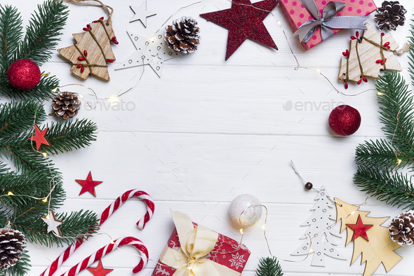 Christmas frame with candy and toys - Stock Photo - Images
