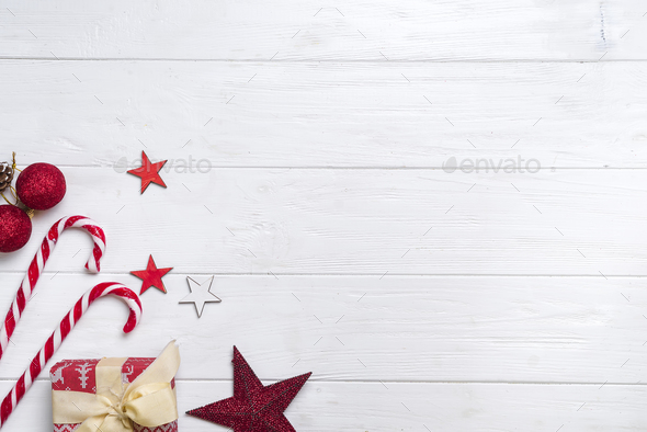 Christmas border with candy and lights - Stock Photo - Images