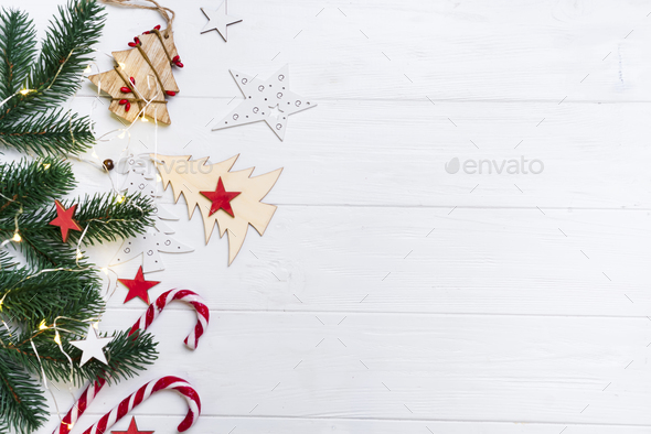 Christmas background with candy and toys - Stock Photo - Images