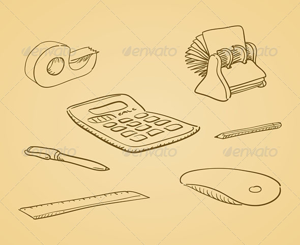 Illustrated Office Tools - Business Conceptual