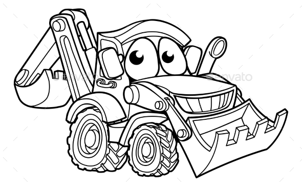 GraphicRiver Bulldozer Digger Cartoon Character 21143380