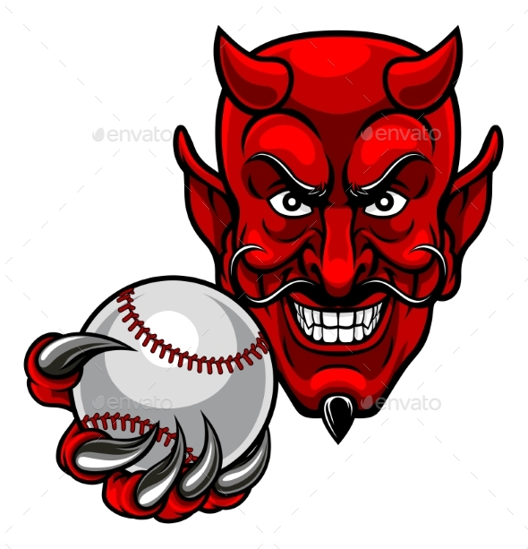 GraphicRiver Devil Baseball Sports Mascot 21143385
