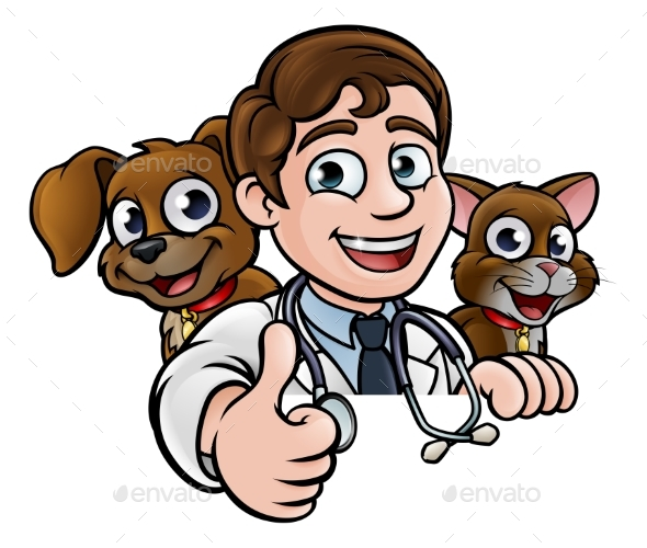 GraphicRiver Vet Cartoon Character Thumbs Up Sign 21143400