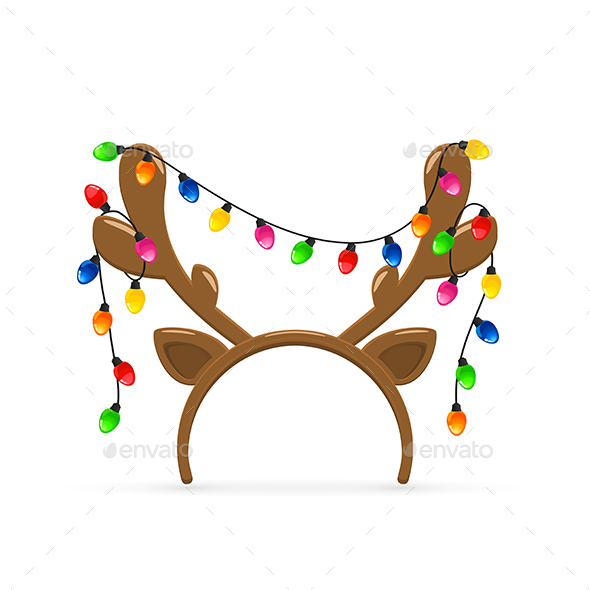 GraphicRiver Reindeer Antlers with Christmas Lights on White Background 21143411