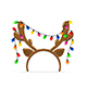 Reindeer Antlers with Christmas Lights on White Background