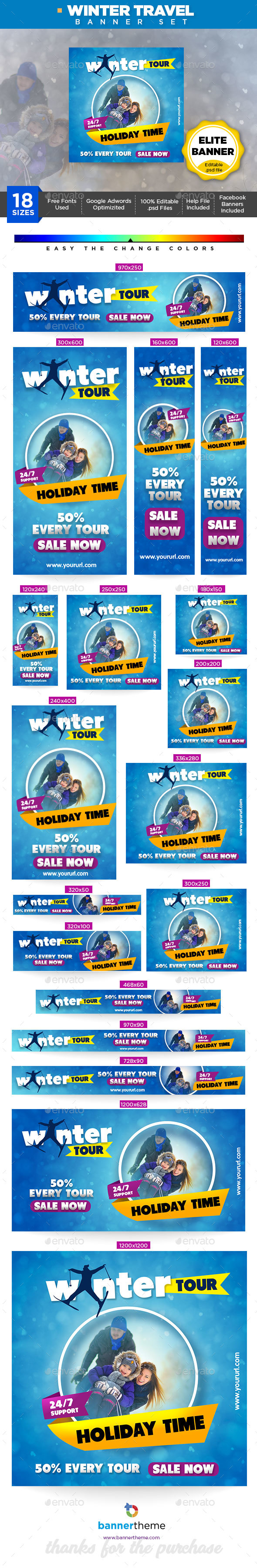Winter Travel Banner - Banners & Ads Web Elements