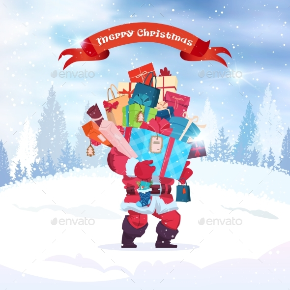 Santa Holding Stack Of Present Boxes Merry - Seasons/Holidays Conceptual