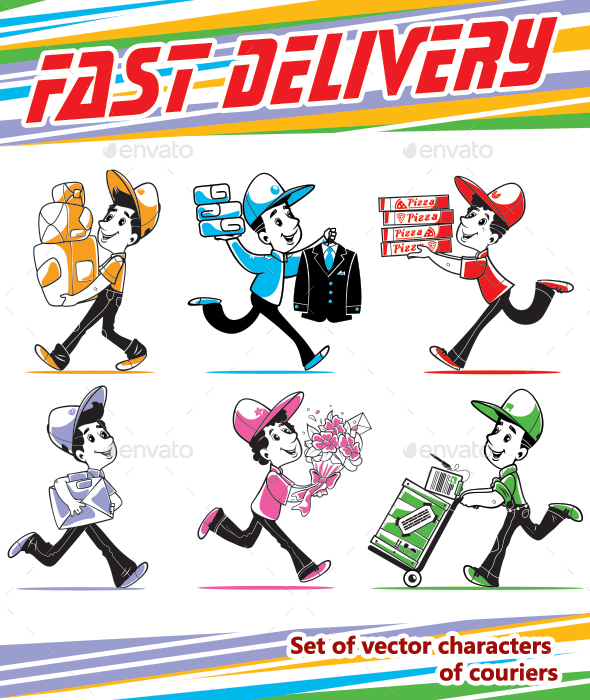GraphicRiver Fast Shipping Set Of Vector Couriers 21143511