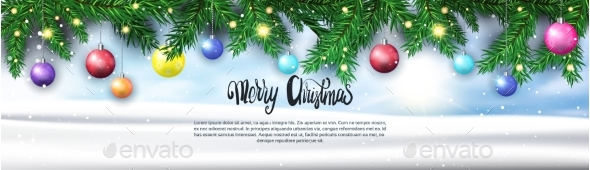 GraphicRiver Merry Christmas Background Fir Branches Decorated 21143524