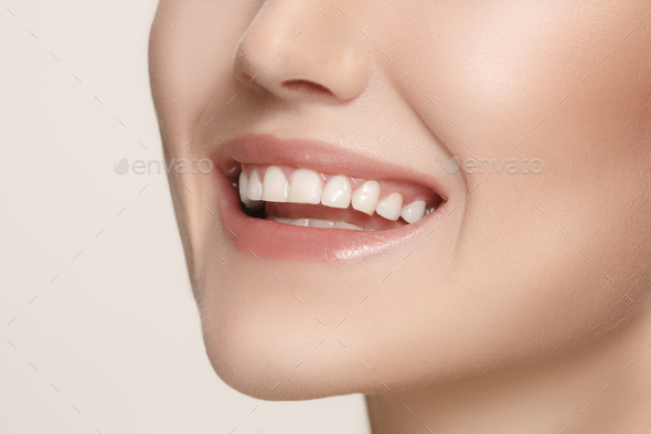 Beautiful and healthy woman smile, close-up - Stock Photo - Images