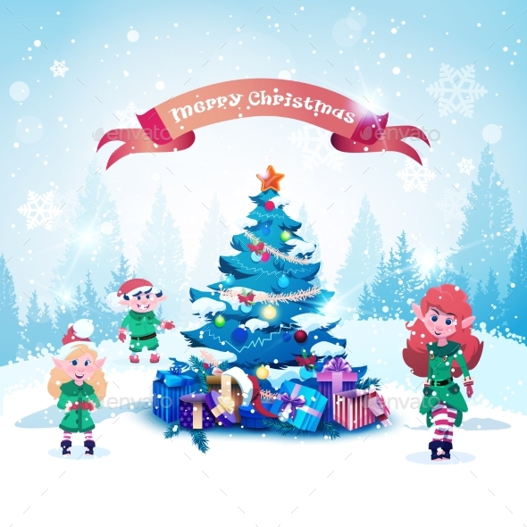 Elves Near Decorated Christmas Tree - Christmas Seasons/Holidays