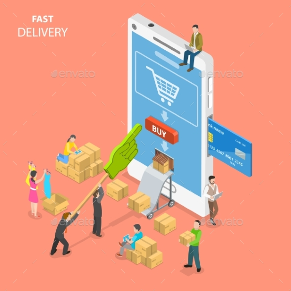 GraphicRiver Fast Delivery Flat Isometric Vector Concept 21143586