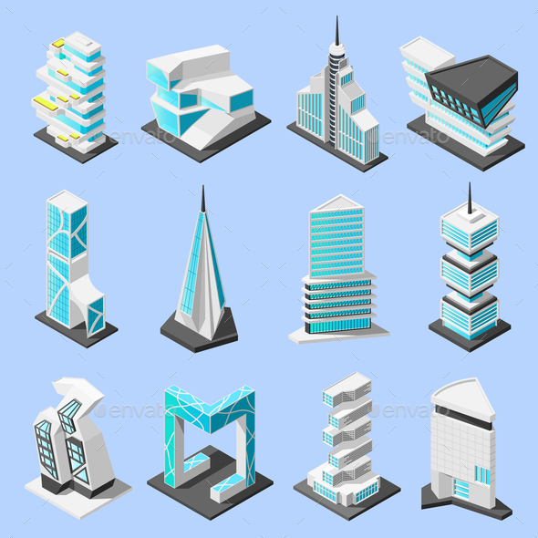 GraphicRiver Futuristic Architecture Isometric Set 21143605