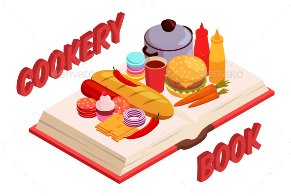 Culinary Book Isometric Composition - Food Objects