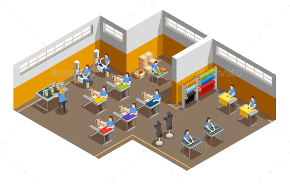 GraphicRiver Clothes Factory Interior Isometric Composition 21143610