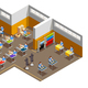 Clothes Factory Interior Isometric Composition