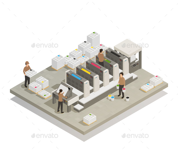 GraphicRiver Printing Production Process Isometric Composition 21143617