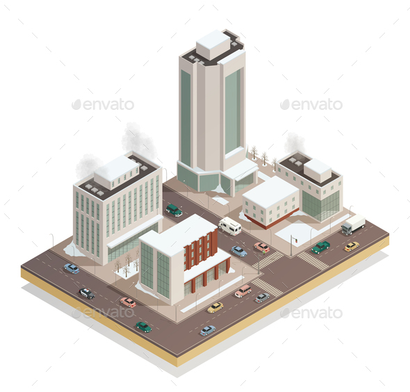 GraphicRiver Winter City Center Isometric Composition 21143622