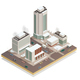 Winter  City Center Isometric Composition