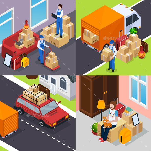 Relocation Isometric Concept - Industries Business