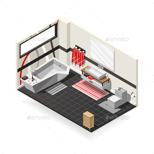GraphicRiver Bathroom Futuristic Interior Isometric Composition 21143625
