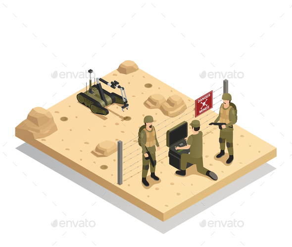 GraphicRiver Robots Sapper Isometric Composition 21143629