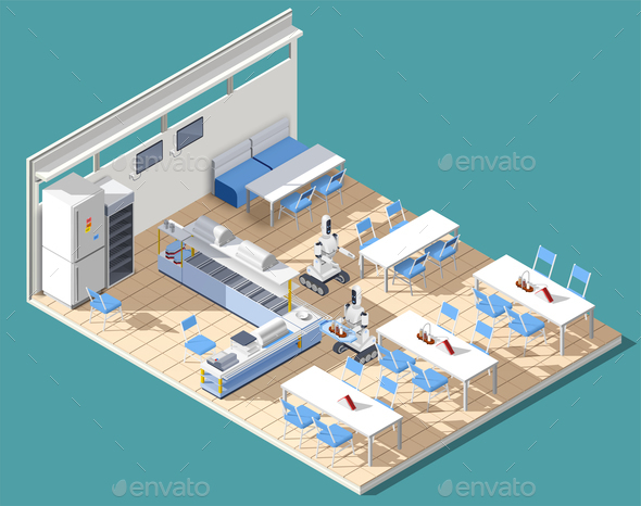 GraphicRiver Fastfood Restaurant Isometric Composition 21143631