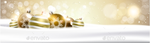 GraphicRiver Christmas Background with Golden Balls Decoration 21143632