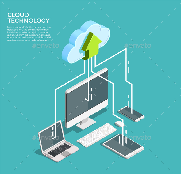 GraphicRiver Cloud Computing Technology Isometric Poster 21143641