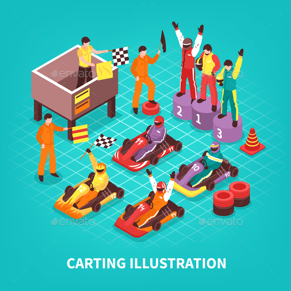 GraphicRiver Isometric Carting Racers Background 21143646