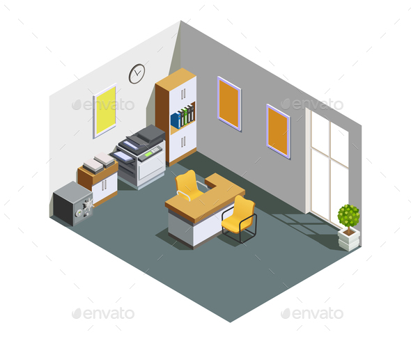 GraphicRiver Bank Office Interior Isometric Composition 21143649