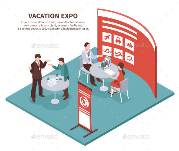 Vacation Expo Isometric Background - People Characters