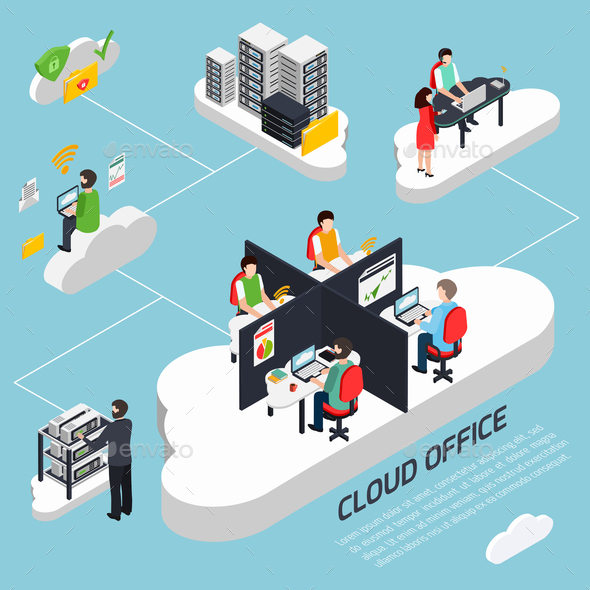 GraphicRiver Cloud Office Isometric Background 21143654
