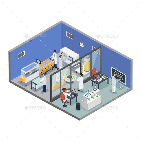 Pharmaceutical Research Production Isometric Background - Health/Medicine Conceptual