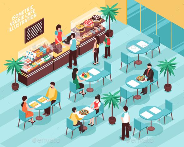Veggie Cafe Isometric Illustration - Food Objects