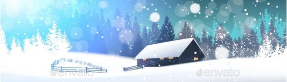 GraphicRiver Winter Landscape with House in Snowy Forest 21143684