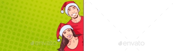 GraphicRiver Man and Woman in Santa Hats Advertisement 21143706