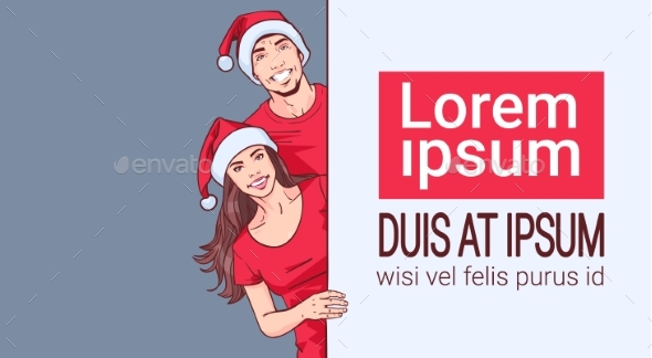 GraphicRiver Couple Wearing Santa Hats Holding Banner with Copy 21143710