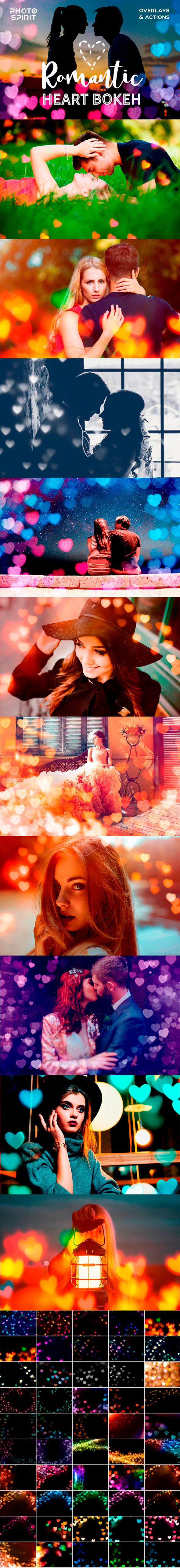 Romantic Heart Bokeh Photo Overlays - Photo Effects Actions