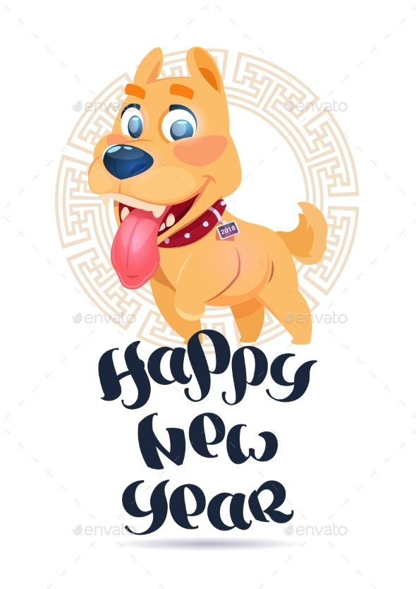 GraphicRiver Dog 2018 New Year Symbol Holiday Greeting Card 21143727