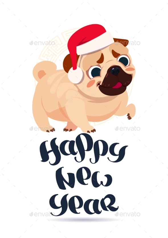 Pug Dog in Santa Hat on Happy New Year Greeting - Animals Characters