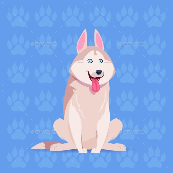 Husky Cartoon Sitting Over Footprints - Animals Characters