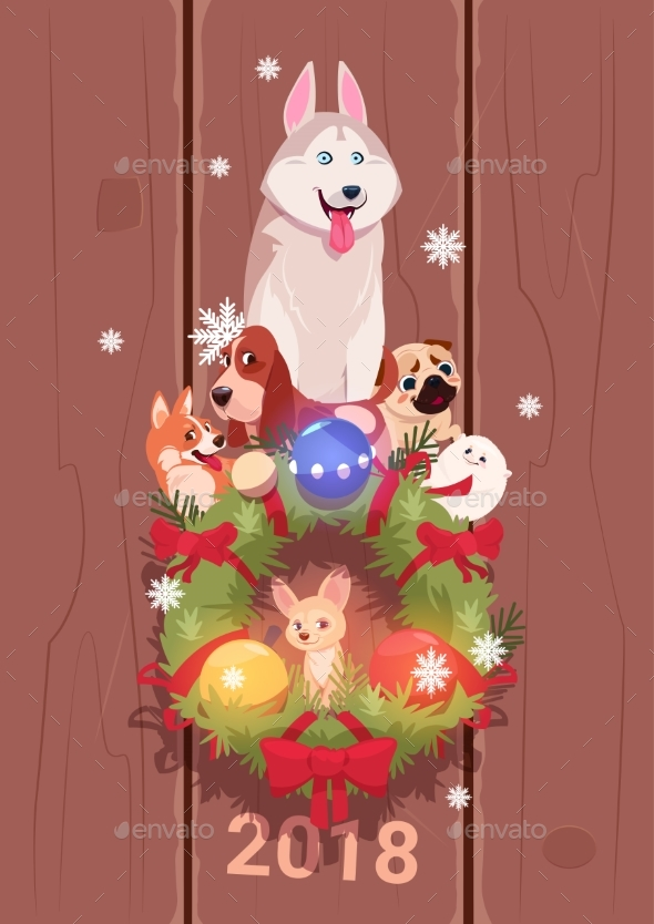 New Year 2018 Card - Animals Characters