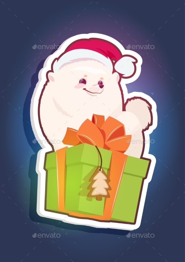 GraphicRiver Holiday Sticker Pomeranian Dog in Santa Hat 21143778